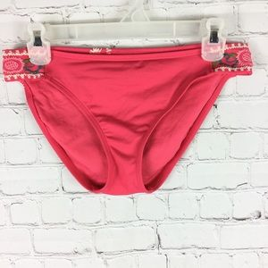 Lucky Brand pink bikini bottoms embroidered detail